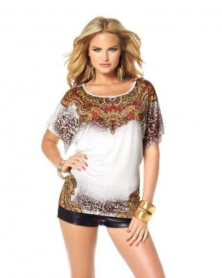 e6731599e944 MELROSE mírně lesklé dámské tričko se zvířecím a orientálním potiskem